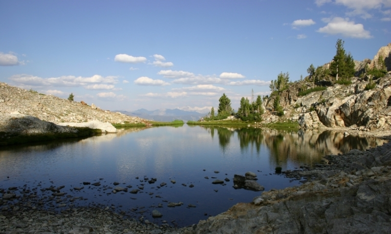 High alpine lake in the Sawtooth Mountains