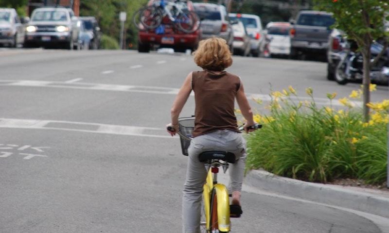 Biking in downtown Ketchum
