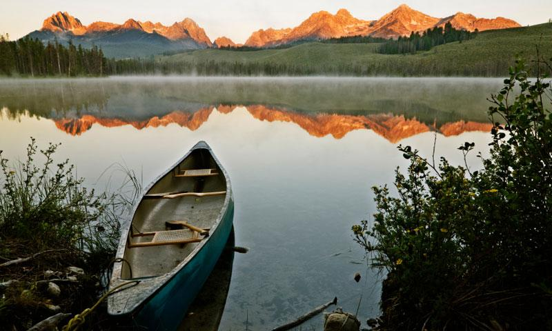Canoe in Little Redfish Lake in Stanley Idaho